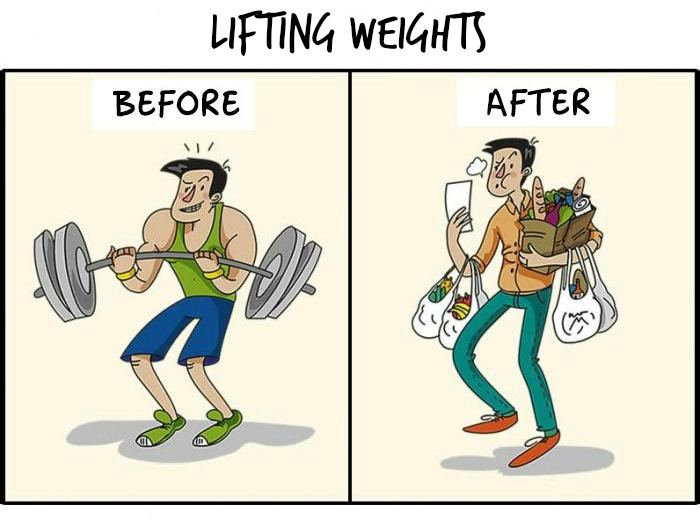 lifting weights before and after