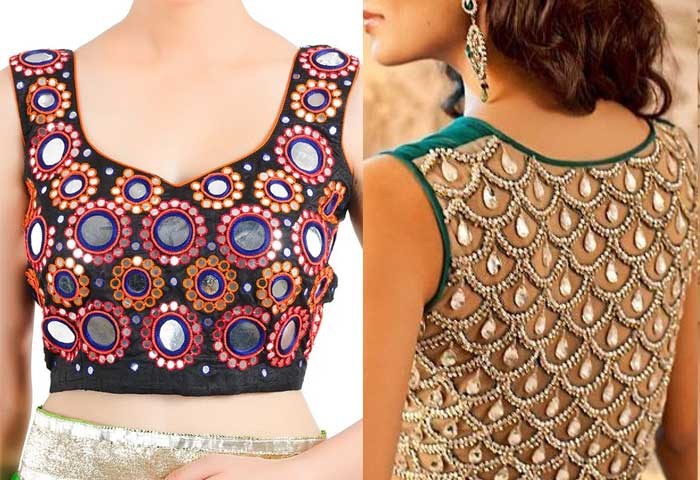 20 Latest Blouse Designes Mirror Work Patterns For Women