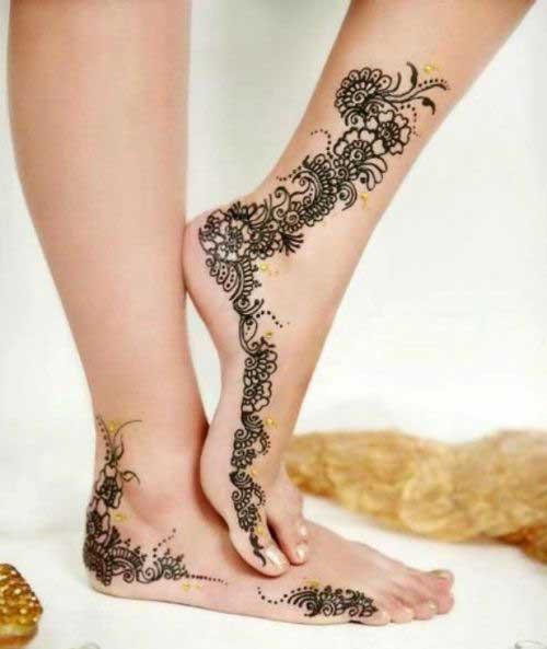 Leg Side Mehndi Design : Top eye catching leg mehndi designs