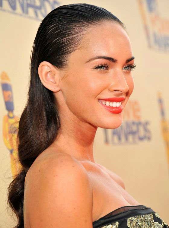 megan fox low ponytail