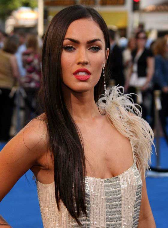 megan fox long straight hair