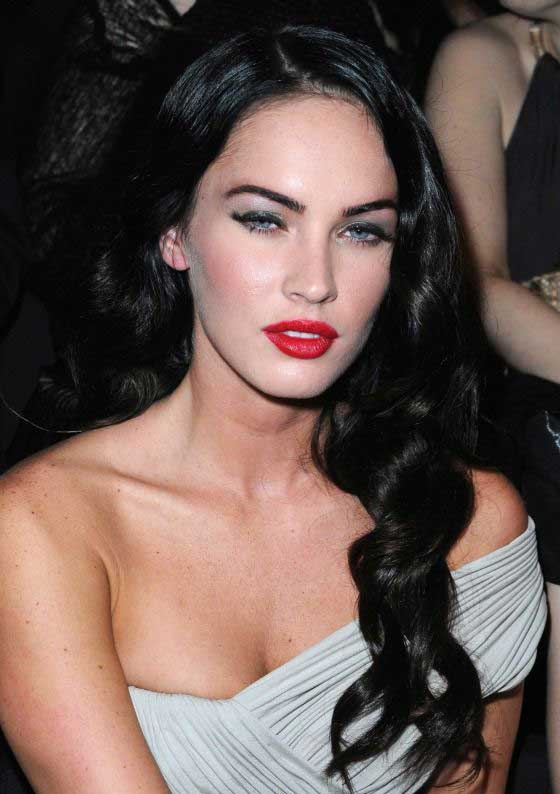 megan fox long wavy hair