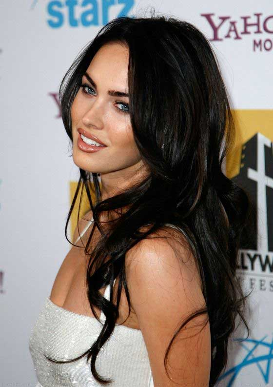 megan fox long black hair