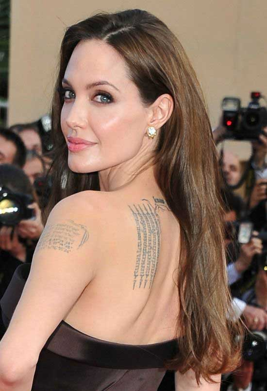 Angelina Jolie Long Straight Hair With Side Part Hairstyle