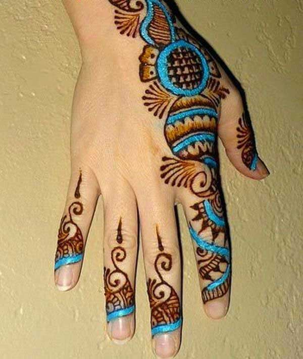 Blue Glitter Mehndi Designs