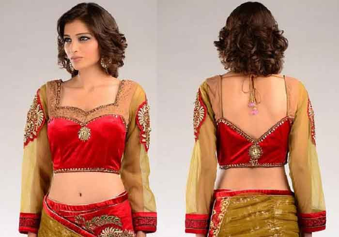 Collar Backless Blouse Design