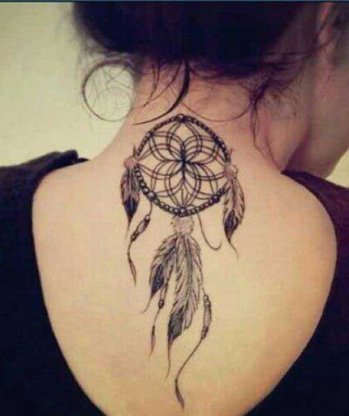 25 wonderful dreamcatcher tattoo designs and meanings dream catcher with three feather on the back pronofoot35fo Choice Image