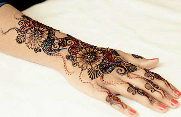 Multicolored Glitter Mehndi Design