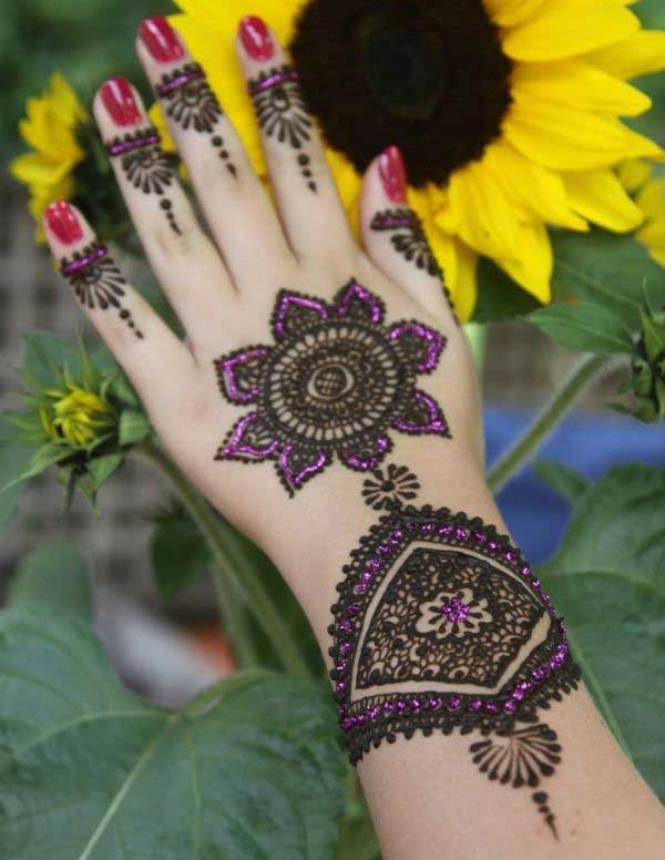 Purple Glitter Mehndi Design