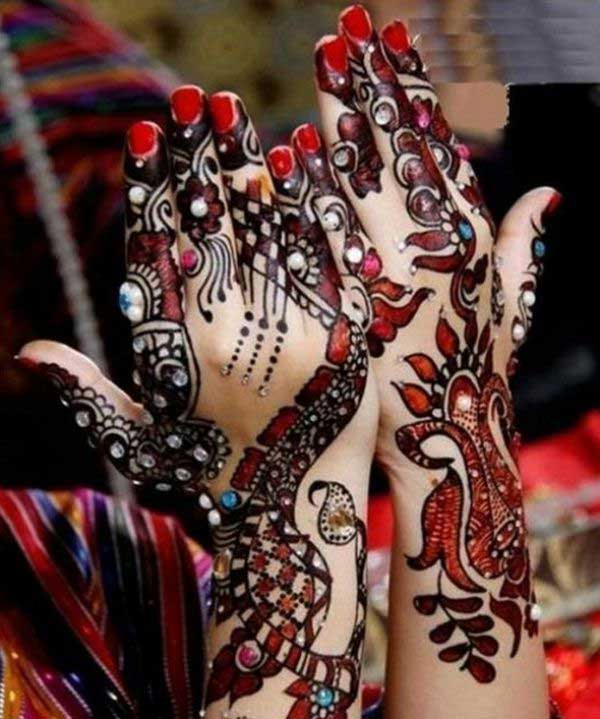 Red Glitter Mehndi Design with Stones
