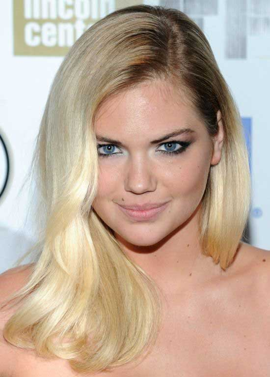 Kate Upton S Blonde Straight Hair With Deep Side Part Hairstyle