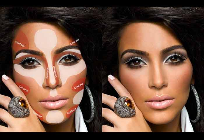 Kim Kardashian Contouring and Highlighting Makeup