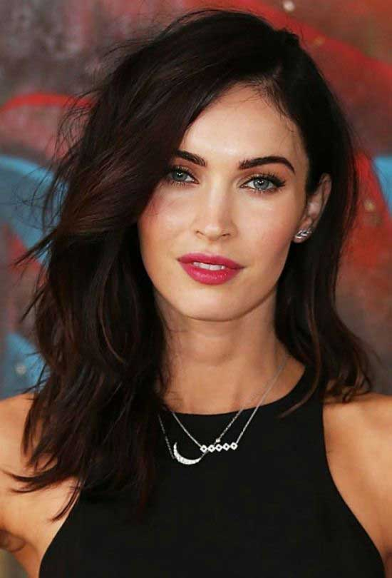 Megan Fox Medium Length Side Parted Hairstyle