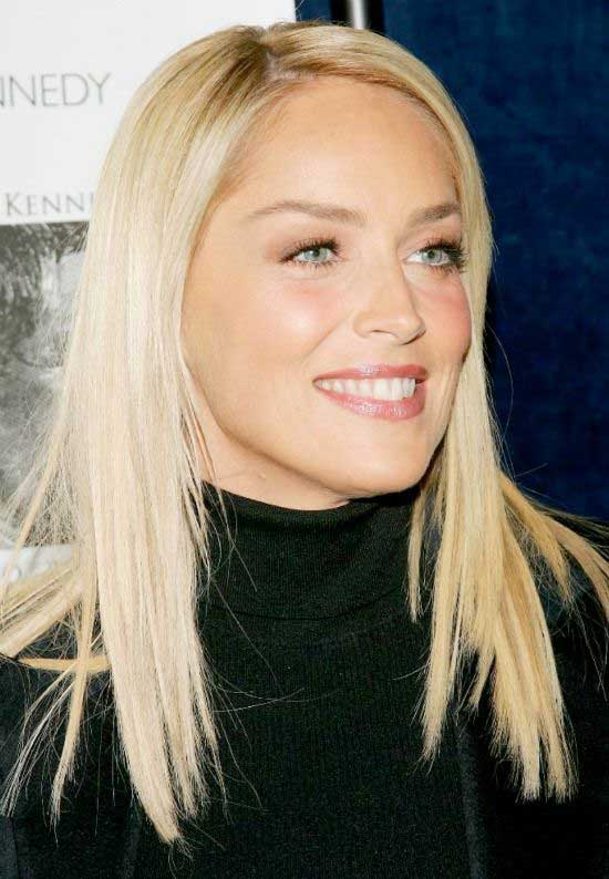 Sharon Stone Long Straight Hairstyle