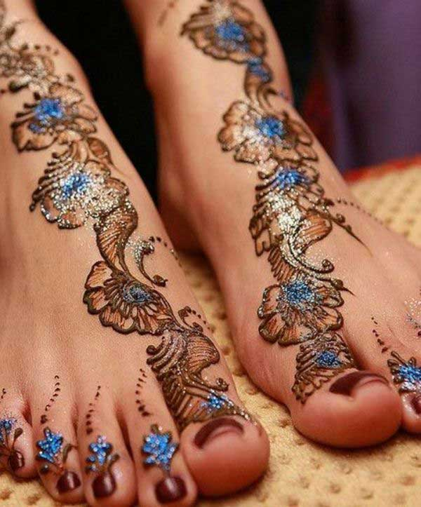 Blue glitter Mehndi Design for Leg
