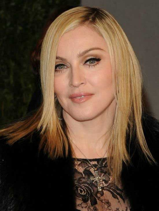 Madonna Long layered Straight Hairstyle