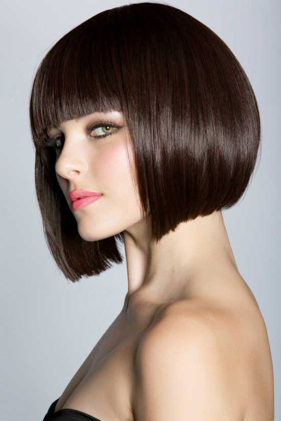 Smoothest short brunette bob with bangs a great hairstyle will give you perfection with any type of dress whereas, it is easy to maintain.