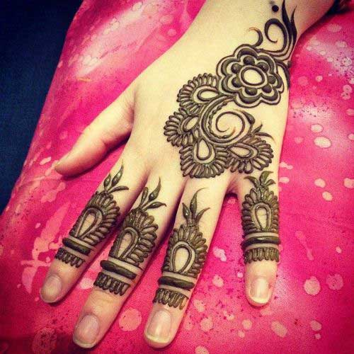 Balck Mehndi Flowery Design for Finger