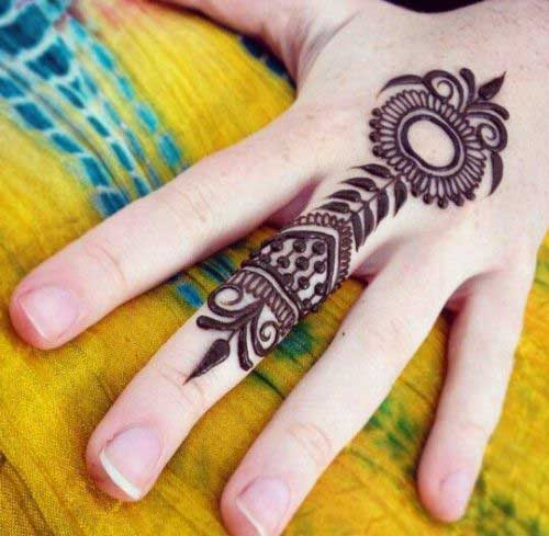 Black Mehendi Design for One Finger