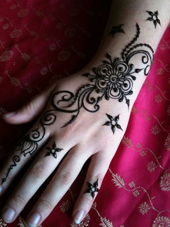 Floral Black Mehandi Design