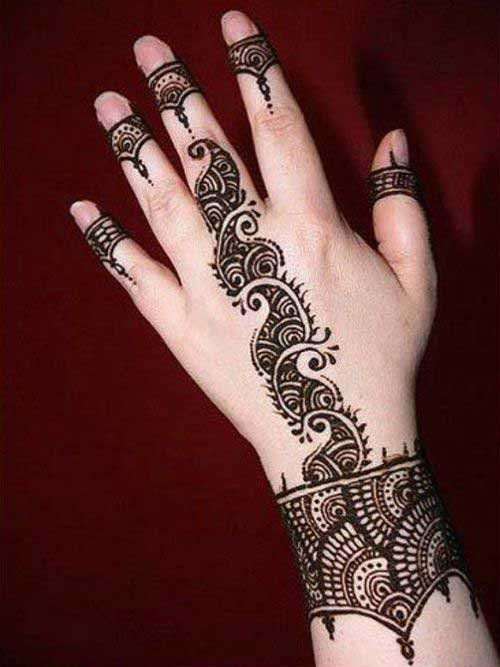 Black Mehendi Design for Half Finger