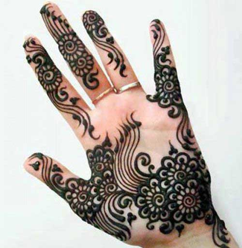 Semi Circular Borders Mehendi Design for Finger