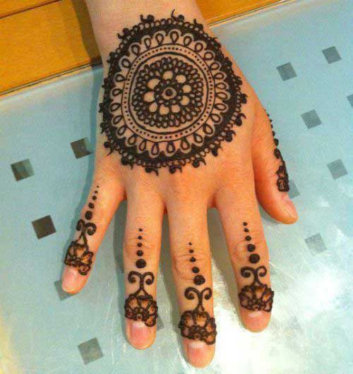Circular Mehendi Design for Finger