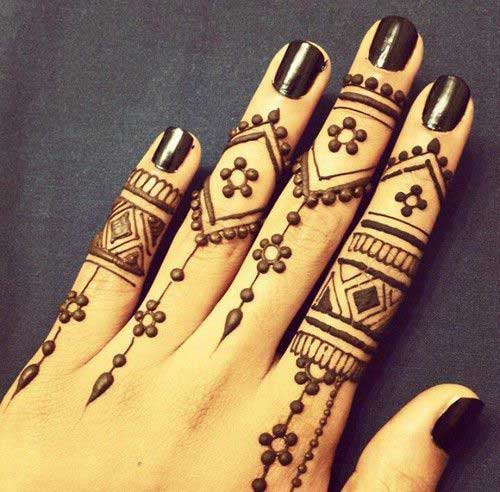 Flowery Mehndi Design for Finger