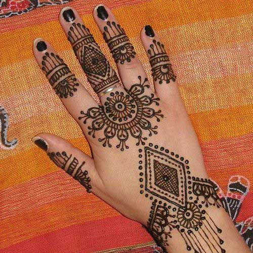 Semi Circle Mehndi Design for Finger