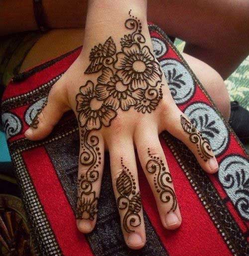 Flowers Mehendi Design for Finger