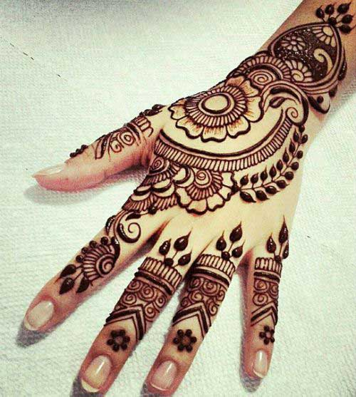 Sun Flower Mehendi designs for hands. 25 Beautiful Mehndi Designs for Fingers   Our Best Collection