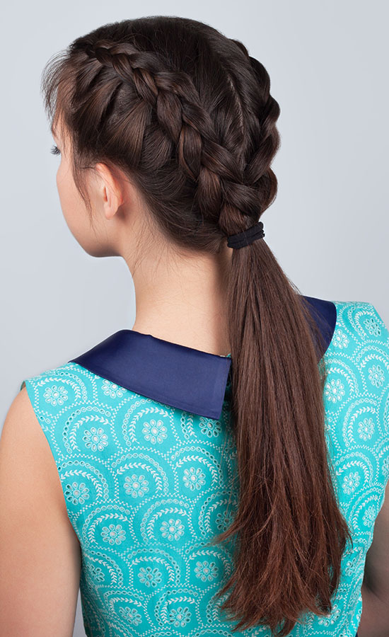 Two braids with pony tail