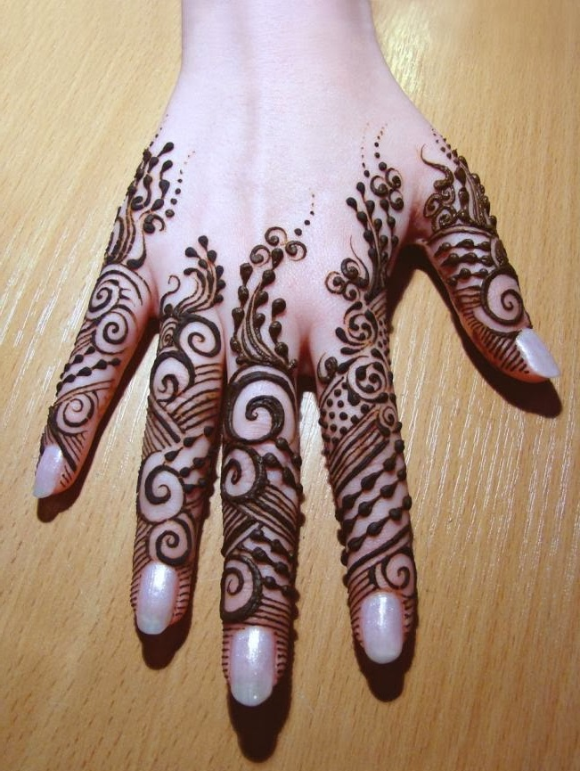 back hand fingers mehndi design