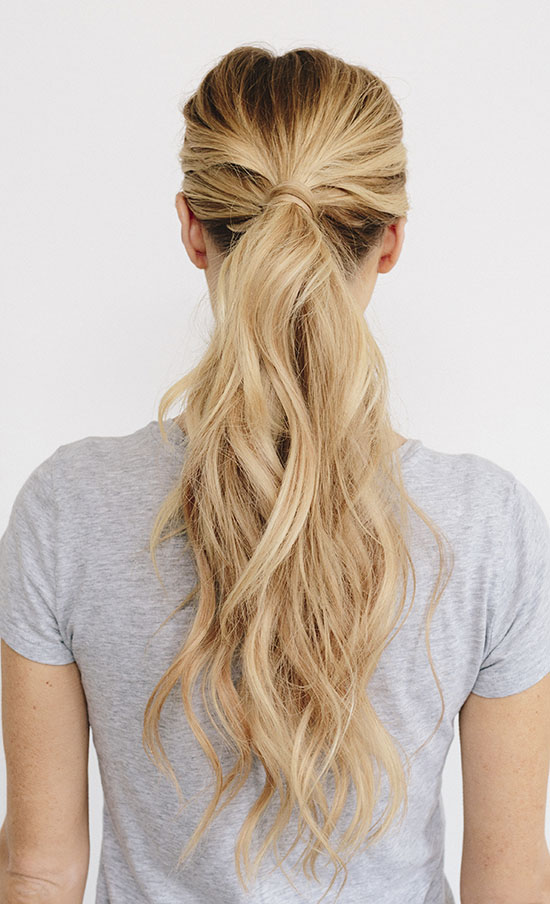 long blond wavy ponytail