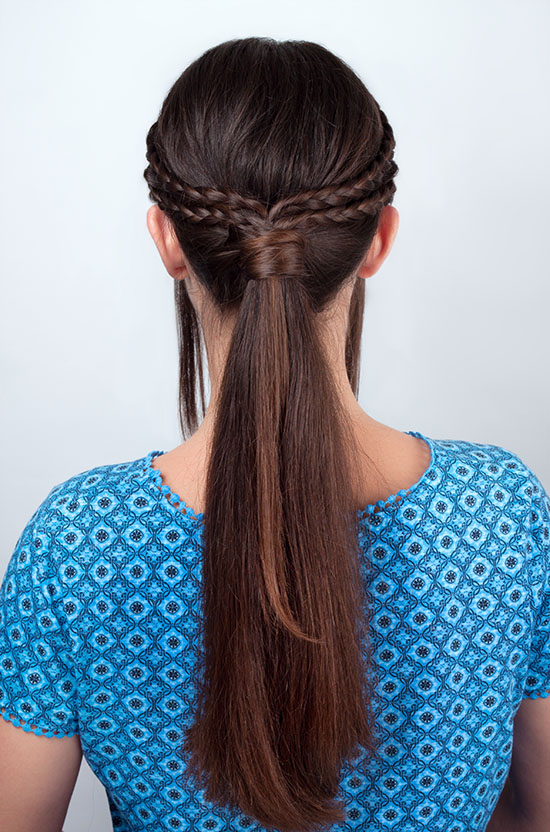 pony tail with braided hair