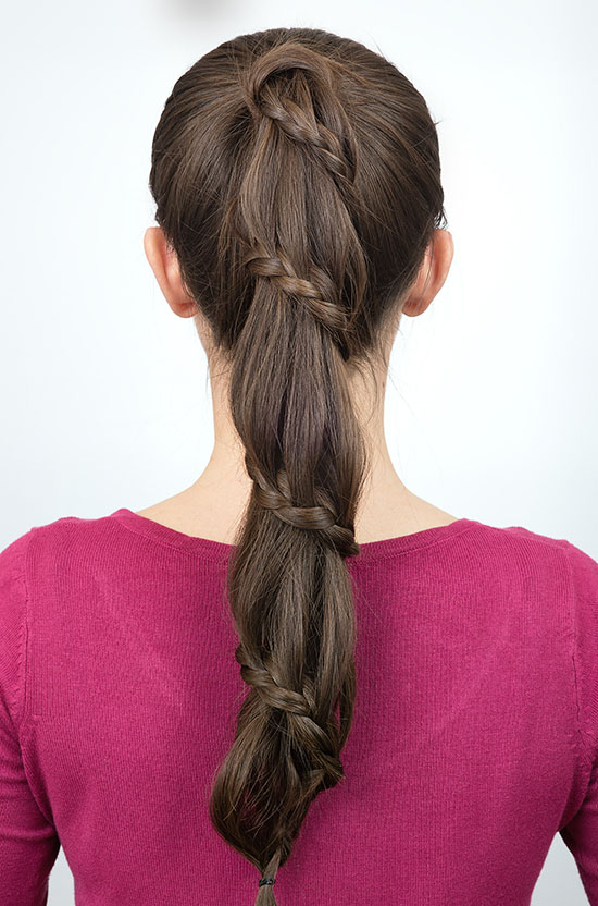 simple braided pony tail hairstyle for long hair
