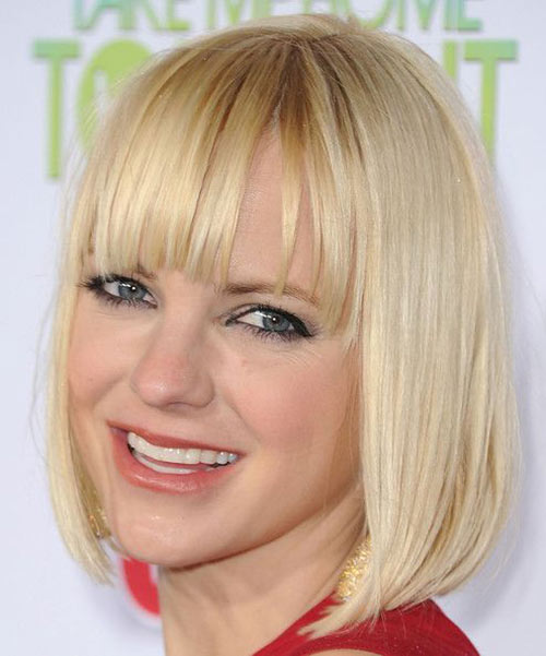 Anna Faris Sassy Bob Haircuts for Round Faces