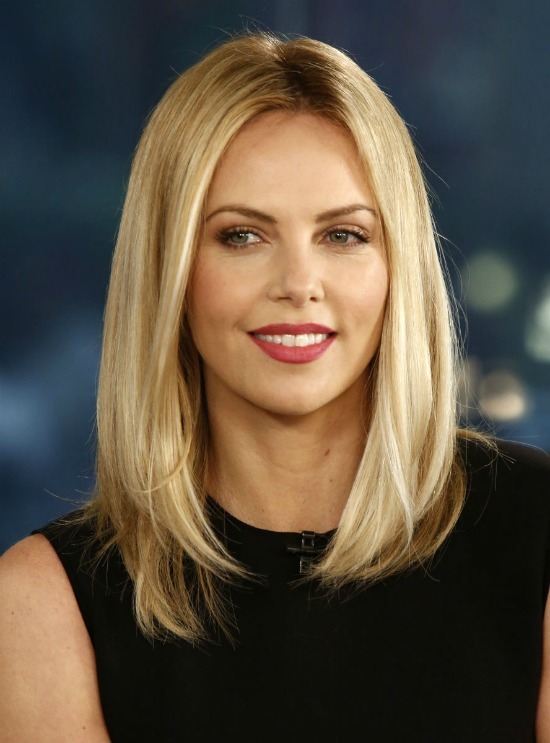 Charlize Theron Center Parted Long Bob Hairstyle