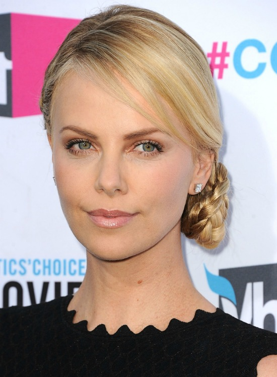 Charlize Theron Low Side Bun