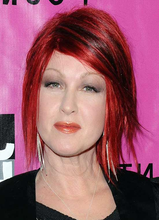 Cyndi Lauper Medium Red Hairstyles