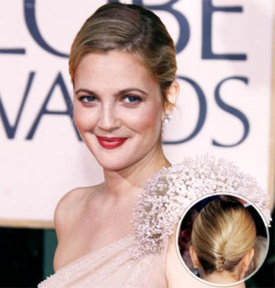 Drew Barrymore Updos for Medium Length Hair