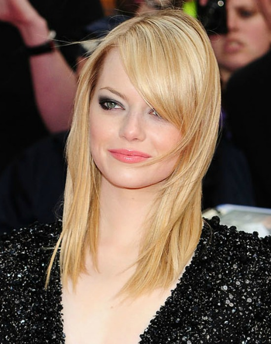Emma Stone Deep Cut Long Blonde Hair