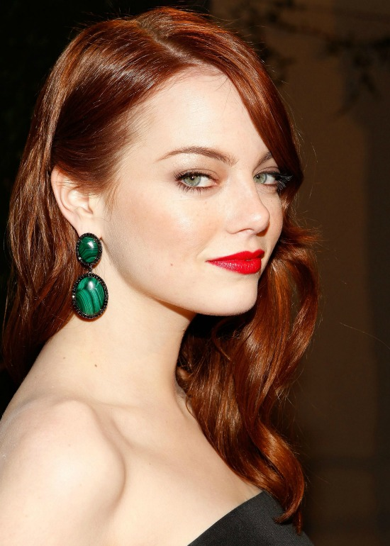 Emma Stone Long Layered Red Color Hair