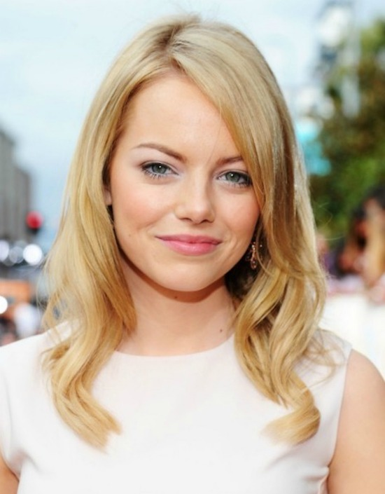 Emma Stone Long Layered Side Part Hairstyle