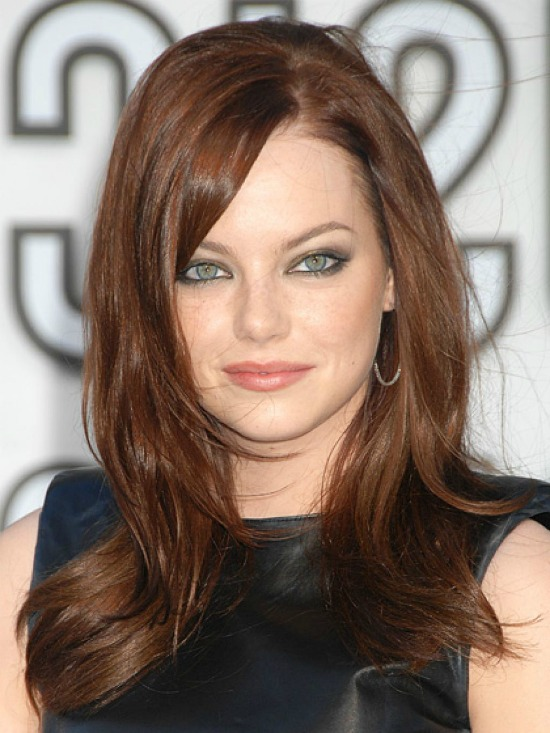 Emma Stone Long Straight Hairstyle with Bangs