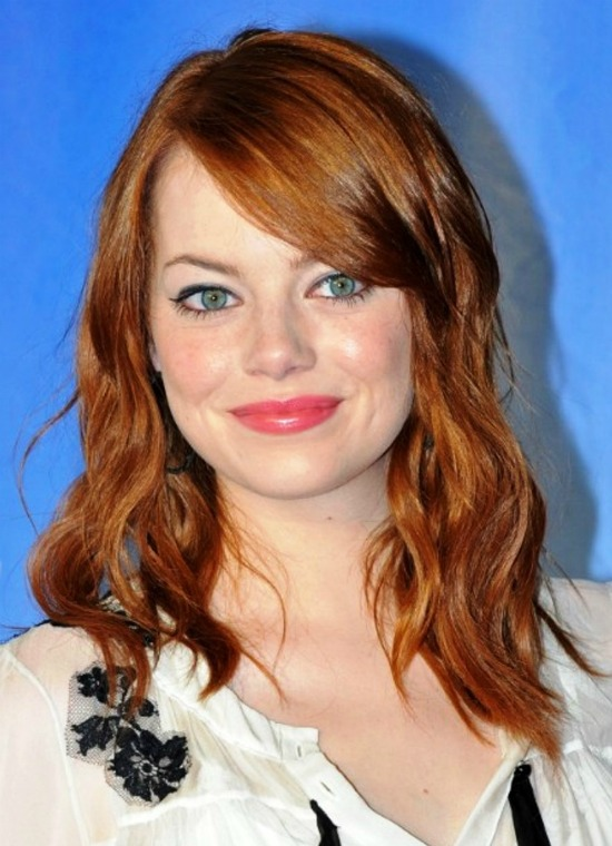 Emma Stone Medium Length Bangs Hairstyle