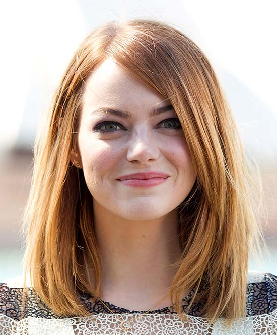 Emma Stone Medium Straight Hairstyles