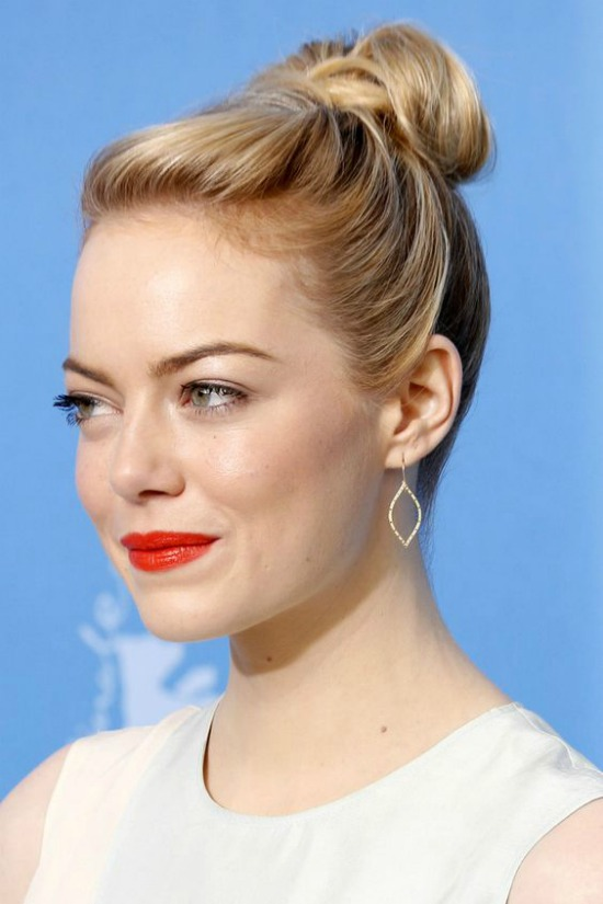 Emma Stone Top Knot Bun Hairstyle