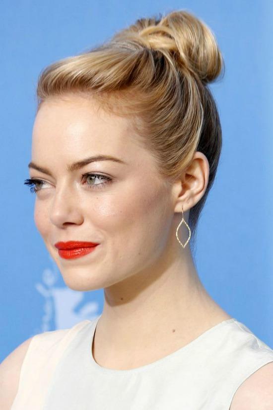 Emma Stone Top Knot Bun Hairstyle