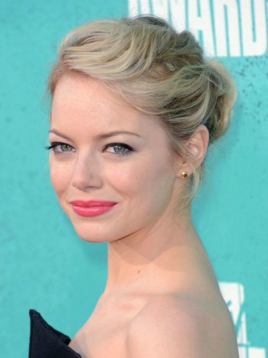 Emma Stone Updo Hairstyles for Medium Hair